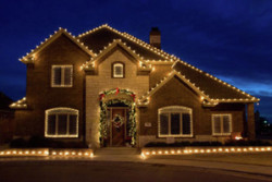 Professional Christmas light hanging